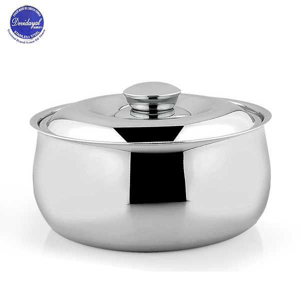 DEVIDAYAL STAINLESS STEEL BELLY CASSEROLE 1600 ML - Gogia bartan store