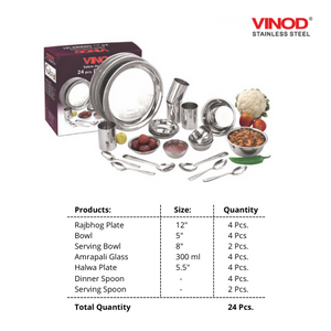 Vinod Stainless Steel 24 pieces Dinner Set for four persons