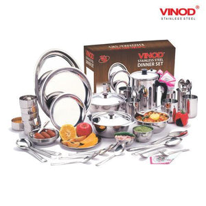 Vinod Stainless Steel  61 pieces Dinner Set for six persons (In Two Boxes)