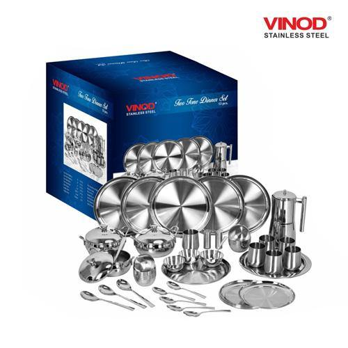 Vinod Stainless Steel 53 pieces Two Tone Dinner Set - Gogia bartan store