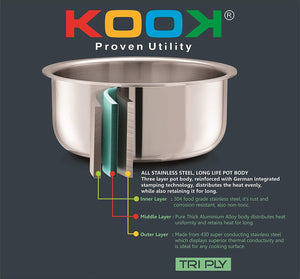 KOOK TRIPLY STAINLESS STEEL TOPE WITH SS LID - Gogia bartan store