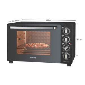 BOROSIL PRIMA 60 L OTG, WITH MOTORISED ROTISSERIE AND CONVECTION, 2000W, 12 STAGE HEAT SELECTION, BLACK - Gogia bartan store