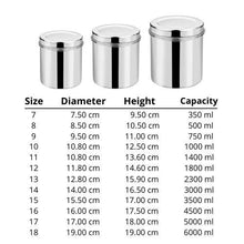 Load image into Gallery viewer, Vinod Stainless Steel Airtight Deep Dabba - From 350 ml to 6 Kg - set of 12 pieces