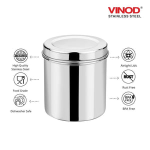 Vinod Stainless Steel Airtight Deep Dabba - 1000 ml, 1400 ml, 1800 ml, 2300 ml, 3000 ml - set of 5 pieces - Gogia bartan store