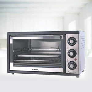 BOROSIL PRIMA 25 LITRE OTG WITH MOTORISED ROTISSERIE AND CONVECTION, 1500 W, BLACK