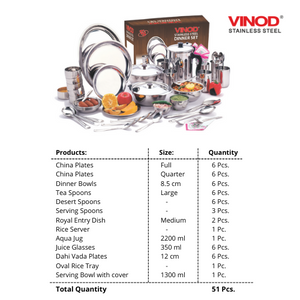Vinod Stainless Steel 51 pieces Dinner Set for six persons (in Two Boxes)