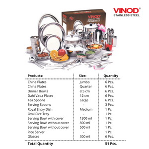 Vinod Stainless Steel 51 pieces Dinner Set for six persons