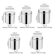 Load image into Gallery viewer, Vinod Stainless Steel Airtight Deep Dabba - 1000 ml, 1400 ml, 1800 ml, 2300 ml, 3000 ml - set of 5 pieces - Gogia bartan store