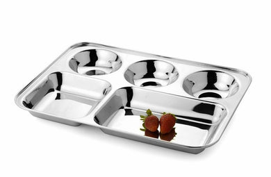 DEVIDAYAL 5 IN 1 PARTITION PLATE / THALI  STAINLESS STEEL - Gogia bartan store