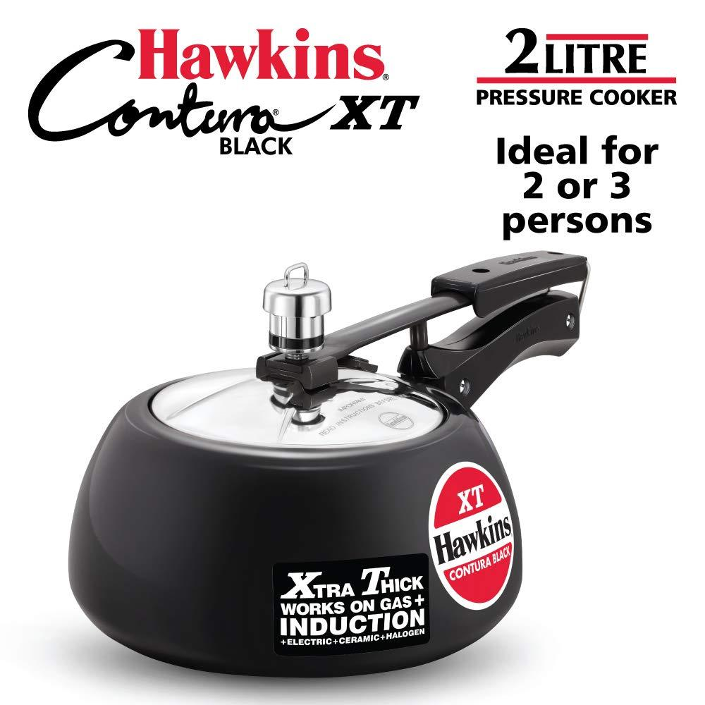 HAWKINS HAWKINS CONTURA BLACK XT PRESSURE COOKER  INDUCTION BOTTOM PRESSURE COOKER  (HARD ANODIZED) - Gogia bartan store