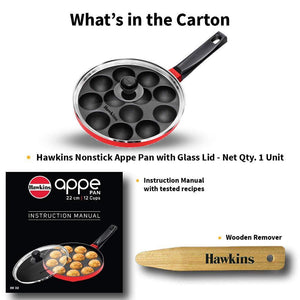 HAWKINS NONSTICK APPE PAN WITH GLASS LID, 12 CRATERS, 22CM (NAPE22G)