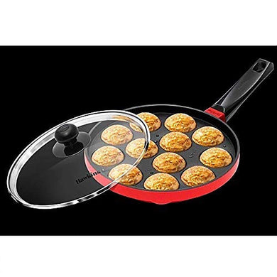 HAWKINS NONSTICK APPE PAN WITH GLASS LID, 12 CRATERS, 22CM (NAPE22G) - Gogia bartan store