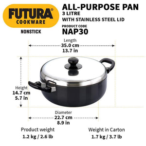 HAWKINS FUTURA NONSTICK ALL PURPOSE FRYING PAN WITH STAINLESS STEEL LID, 3 LITRES, Q78