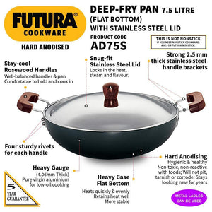 HAWKINS FUTURA HARD ANODIZED KADHAI 7.5 LITRES WITH STEEL LID, AD75S