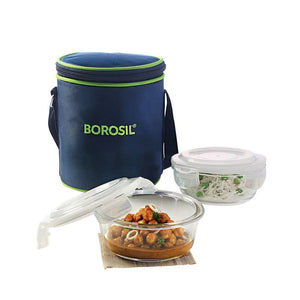Borosil Glass Lunch Box Set of 2, 400 ml, Vertical, Microwave Safe Office Tiffin - Gogia bartan store