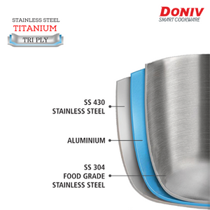 DONIV Titanium Triply Stainless Steel Sauce Pan, Induction Friendly - Gogia bartan store