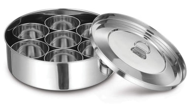 DEVIDAYAL STAINLESS STEEL CLIP MASALDANI FOR KITCHEN 13 INCHES ( MASALA BOX ) - Gogia bartan store