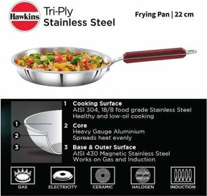 HAWKINS TRIPLY SS SSF22 FRY PAN 22 CM DIAMETER  (STAINLESS STEEL, INDUCTION BOTTOM) - Gogia bartan store