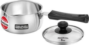 HAWKINS T-PAN STAINLESS STEEL WITH LID POT (STAINLESS STEEL, INDUCTION BOTTOM) - Gogia bartan store