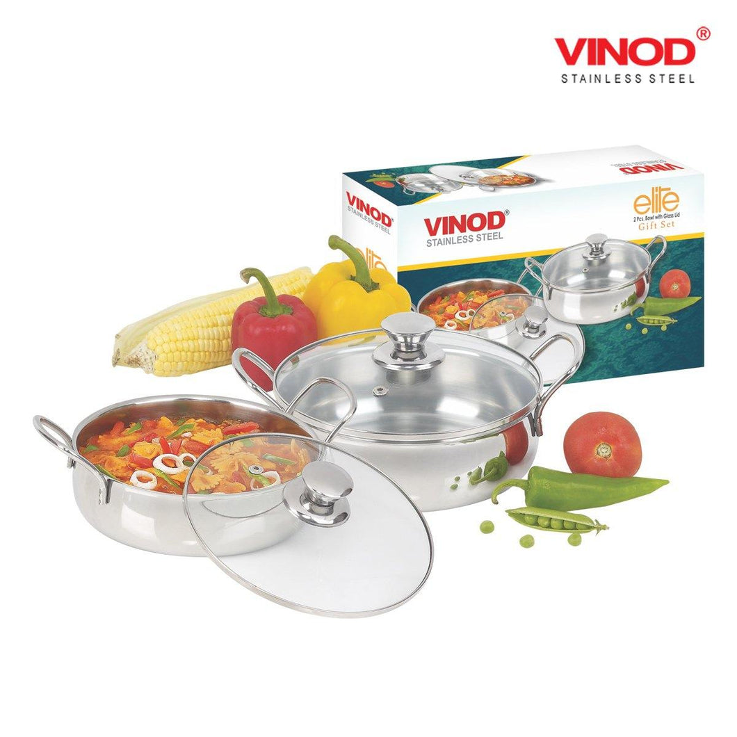 Vinod Stainless Steel 2 Pcs Elite Bowl with Glass Lid - Gogia bartan store