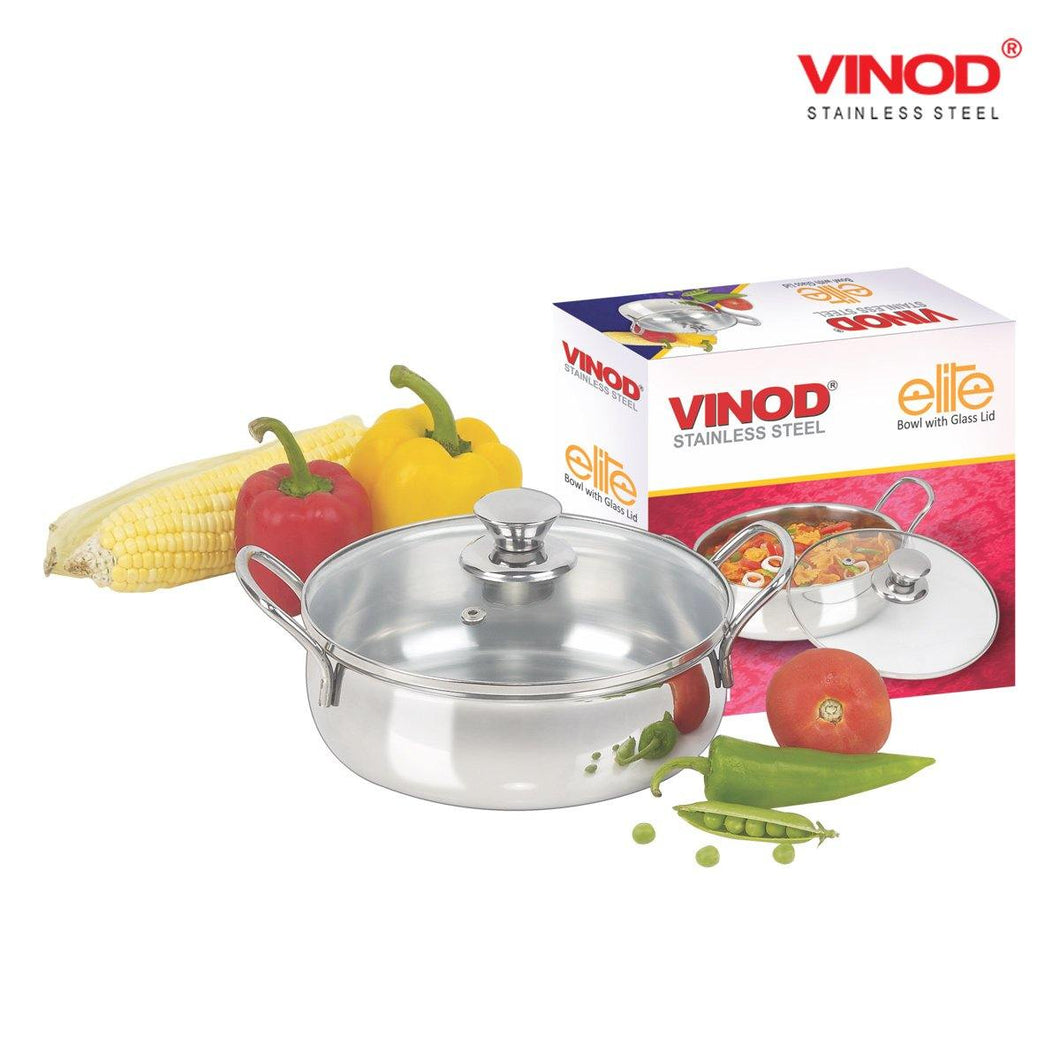 Vinod Stainless Steel Elite Bowl with Glass Lid