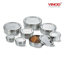 Load image into Gallery viewer, Vinod Stainless Steel Puri Dabba, Storage Containers - Pack of 8 (Capacity: from 350 ml to 2500 ml) - Gogia bartan store