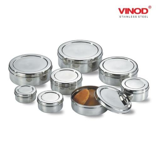 Vinod Stainless Steel Puri Dabba, Storage Containers - Pack of 8 (Capacity: from 350 ml to 2500 ml) - Gogia bartan store