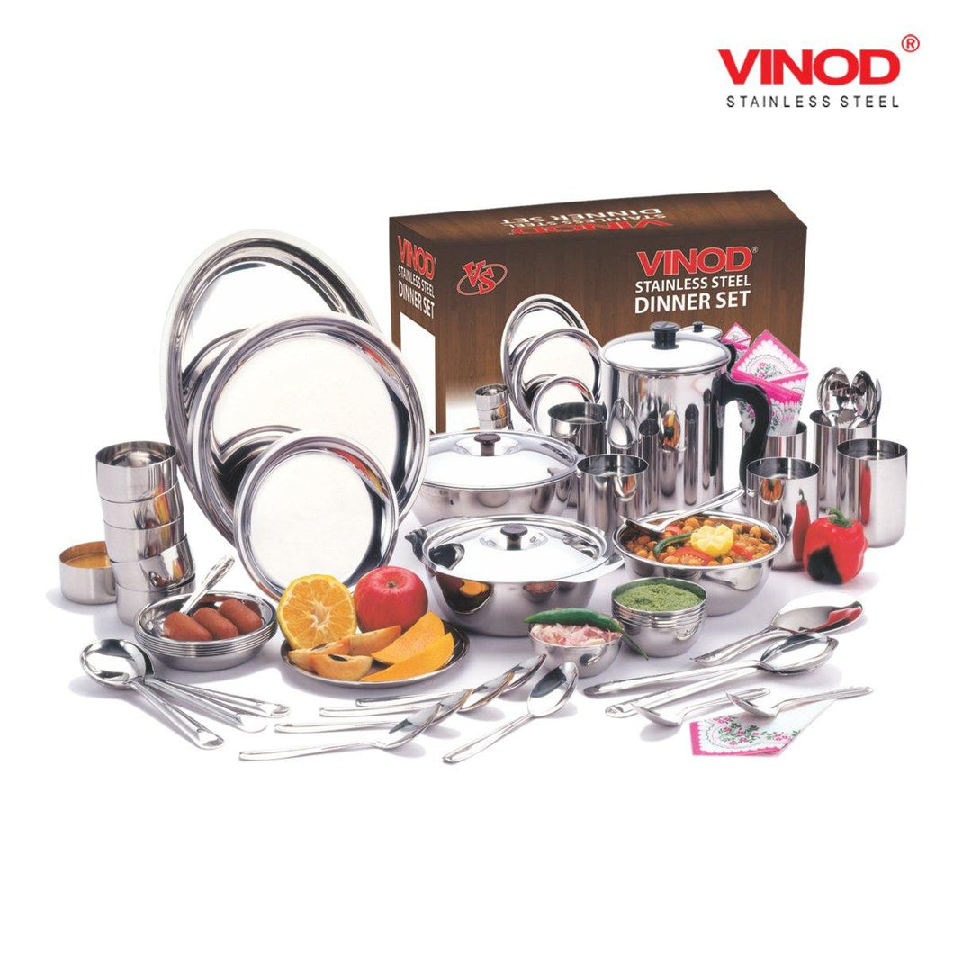 Vinod Stainless Steel 36 pieces Dinner Set for six persons - Gogia bartan store