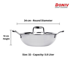 Doniv Vinod Titanium Triply Stainless Steel Kadhai with Cover, Induction Friendly - Gogia bartan store