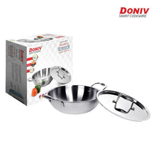 Load image into Gallery viewer, Doniv Vinod Titanium Triply Stainless Steel Kadhai with Cover, Induction Friendly - Gogia bartan store