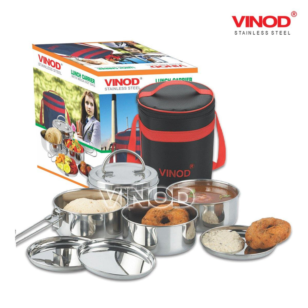 Vinod Stainless Steel Lunch Carrier with Mega Hot Bag - Gogia bartan store