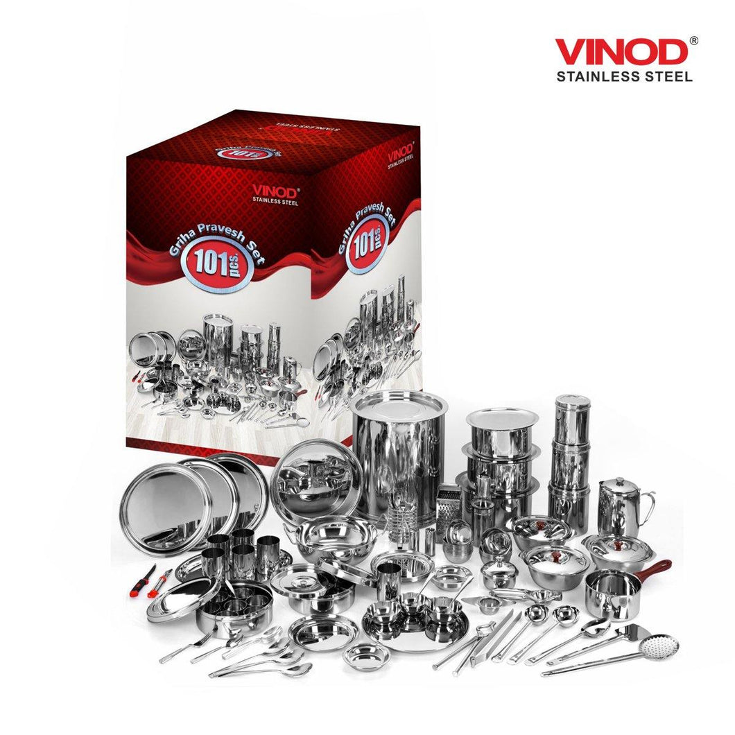 Vinod Stainless Steel 101 Pieces Griha Pravesh Set