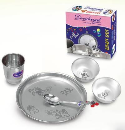 DEVIDAYAL PACK OF 4 STAINLESS STEEL BABY SET DINNER SET - Gogia bartan store