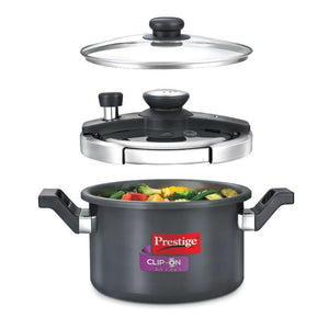 PRESTIGE CLIP-ON MINI HARD ANODISED ALUMINIUM PRESSURE COOKER, 3 LITRES, BLACK - Gogia bartan store