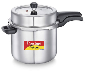 PRESTIGE DELUXE ALPHA STAINLESS STEEL PRESSURE COOKER, 10 LITRES, SILVER - Gogia bartan store