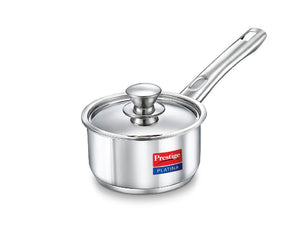 PRESTIGE PLATINA INDUCTION BASE STAINLESS STEEL SAUCE PAN, 200MM/3 LITRES, METALLIC STE - Gogia bartan store