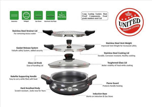 UNITED PRESSURE COOKER UCOOK SMART 3 IN 1 HARD ANODISED INDUCTION BASE-STRAINER SERVER 3 LITRE - Gogia bartan store
