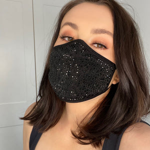 Sparkle Face Mask: Black + Black