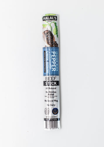 Halal's Best Cracked Black Pepper Beef Stick in package, front view