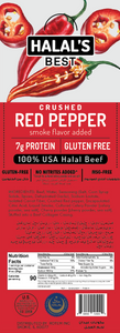 Halal's Best Crushed Red Pepper Beef Stick front of box with ingredients