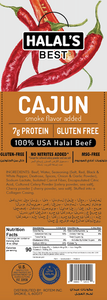 Halal's Best Cajun Beef Stick box view with ingredients