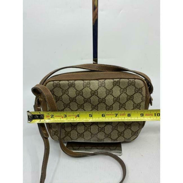 Gucci Vintage Brown Signature Crossbody Bag