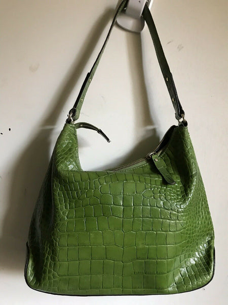 Kate Spade Green Croc Embossed  Leather Shoulder Bag
