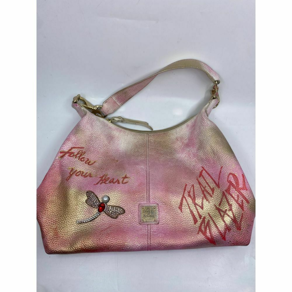 DOONEY & BOURKE Shoulder Tote Bag Customized W/ Pink Gold Graffiti and Applique