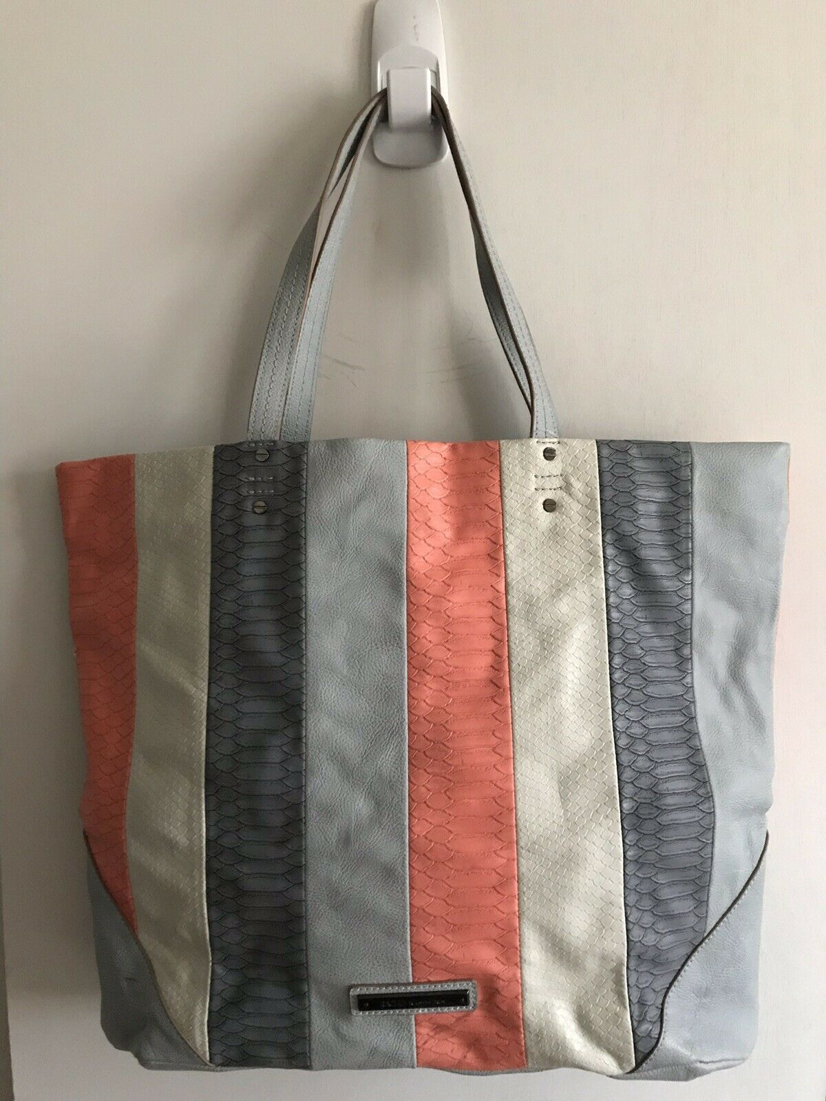 RACHEL ROY Extra Large Faux Leather Blue/Grey/Coral Tote