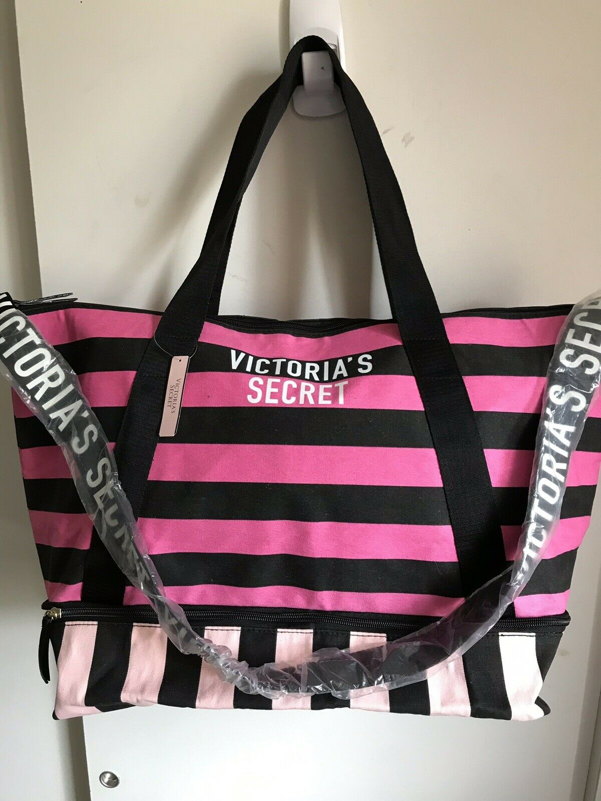 Victoria's Secret XL Pink/Black Striped Tote Weekender Bag