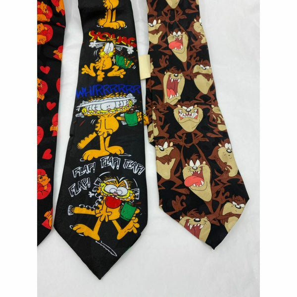 New Lot of 3 Neck tie Disney, Looney Tunes Black Red Yellow Total Msrp 75