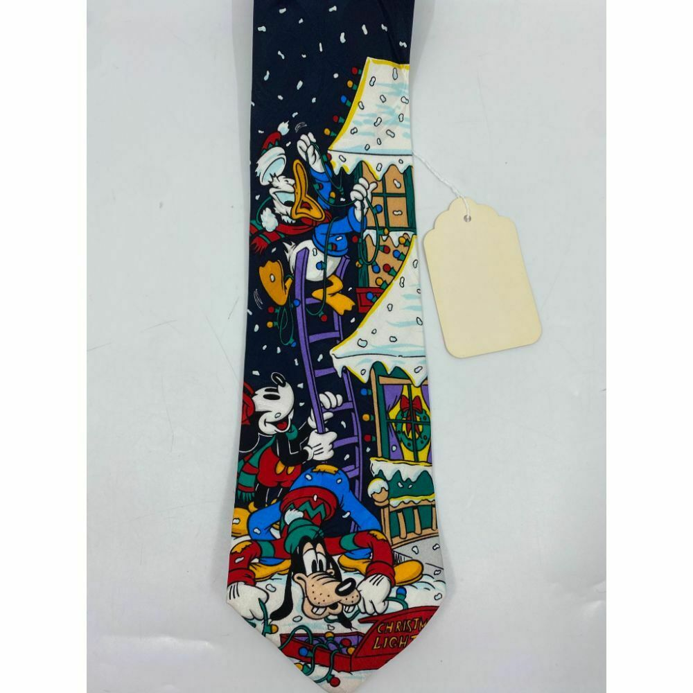 New! Mickey and Friends Disney Blue White Red Christmas Theme Neck Tie Msrp 59