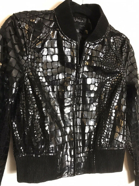 ROSA CHA Black Croc  Embossed Bomber Jacket Small