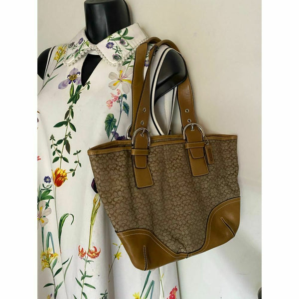 Coach Women's Brown Tan Medium Fabric Tote Bag